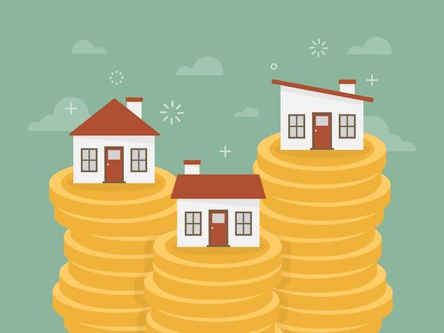 Casas sobre montones de monedas vector gratuito