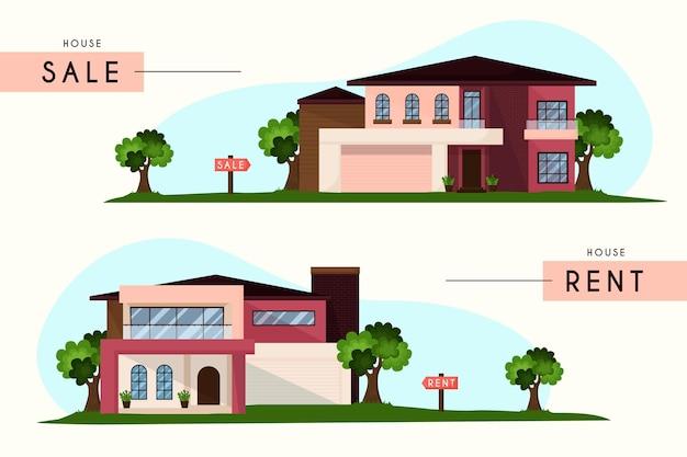 Casas en venta y alquiler conjunto vector gratuito