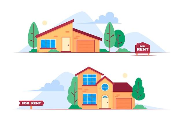 Casas en venta y alquiler ilustración de diseño plano vector gratuito