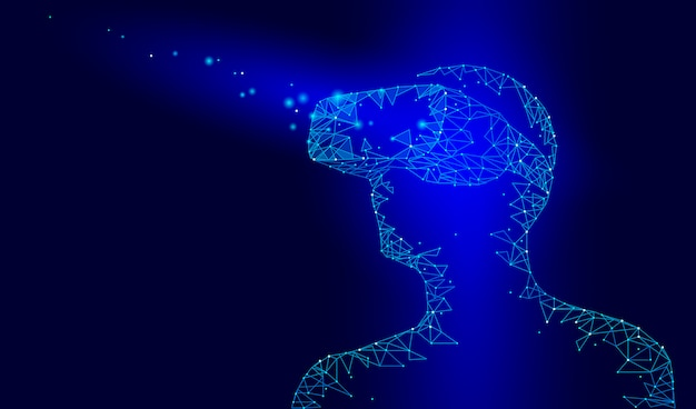Casco de realidad virtual con casco de cristal. futura tecnología de video por internet. hombre con dispositivo en la cabeza. puntos de baja poli conectados punto línea triángulo azul oscuro Vector Premium