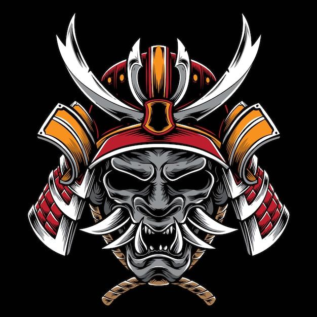 Casco samurai con máscara hannya Vector Premium