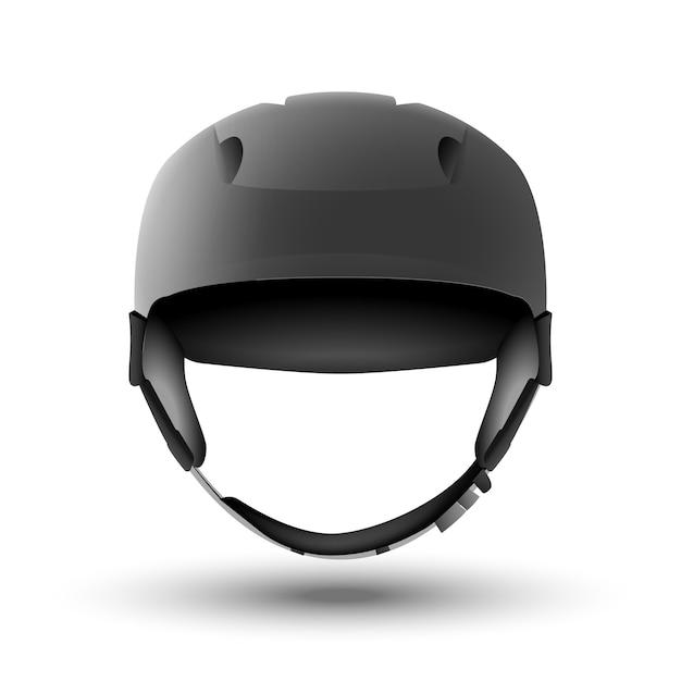 Casco de snowboard aislado en blanco. esquí de montaña o equipamiento deportivo en bicicleta. vista frontal. seguridad de la cabeza. Vector Premium