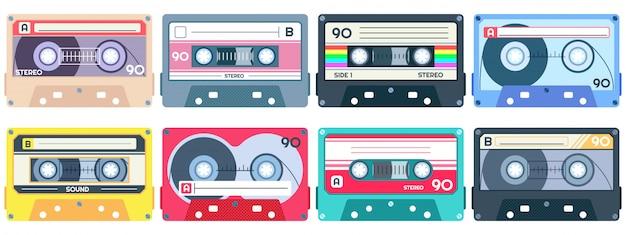 Casete de cinta vintage. mixtape retro, conjunto de cintas de canciones pop de los años 80 y casetes de música estéreo Vector Premium