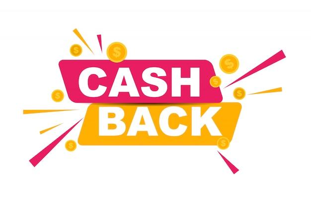 Cashback de dinero con monedas de oro en dólares Vector Premium