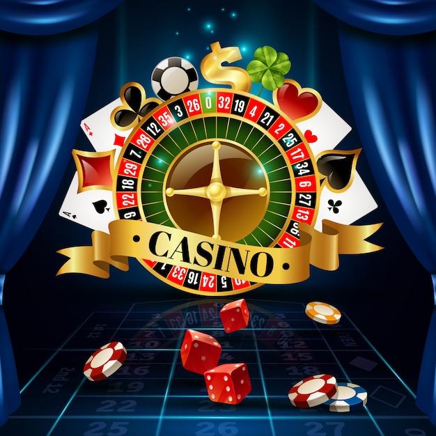 Casino juegos nocturnos símbolos composición póster vector gratuito
