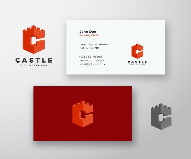 Castillo abstracto logotipo y tarjeta de visita Vector Premium