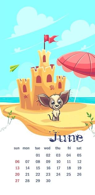 Castillo de arena de ilustración vectorial. calendario junio 2021