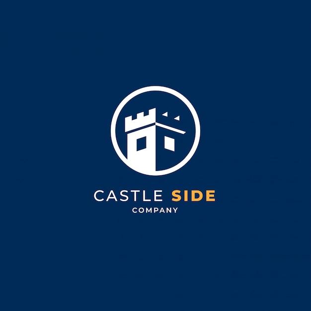 Castillo en círculo logo Vector Premium