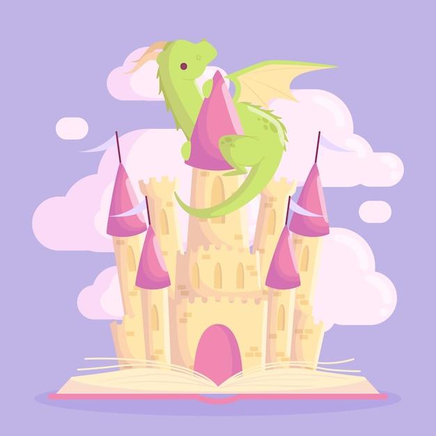 Castillo de cuento de hadas con dragón Vector Premium