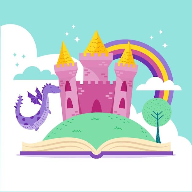 Castillo de cuento de hadas en libro con ilustración de dragón vector gratuito