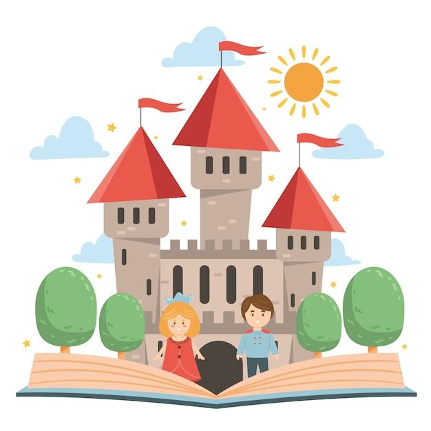 Castillo de cuento de hadas con libro vector gratuito