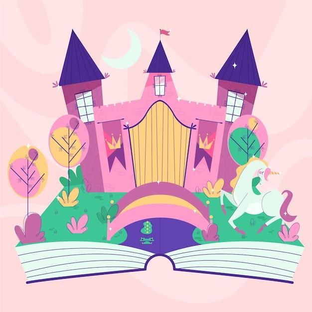 Castillo de cuento de hadas en un libro vector gratuito