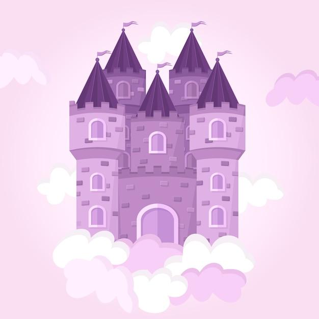 Castillo de cuento de hadas en las nubes vector gratuito