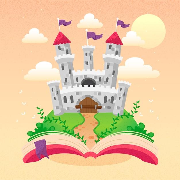 Castillo de cuento de hadas que aparece de un libro vector gratuito