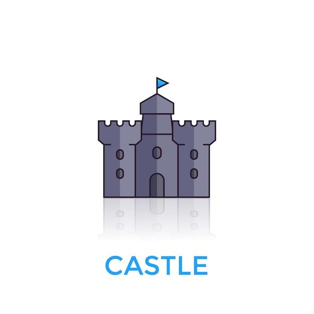 Castillo, icono de fortaleza medieval en blanco Vector Premium