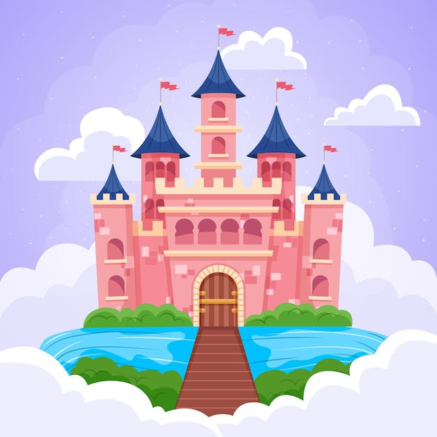 Castillo mágico de cuento de hadas vector gratuito