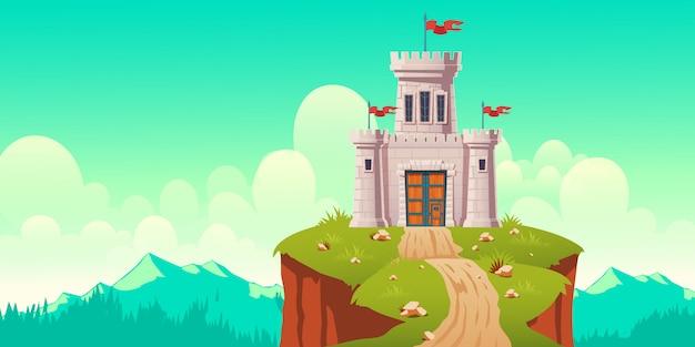 Castillo medieval, fuerte en la ilustración de dibujos animados de acantilado vector gratuito