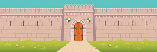 Castillo medieval, ilustración de dibujos animados de pared de fortaleza de la ciudad vector gratuito