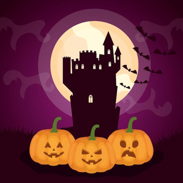 Castillo oscuro de halloween con calabazas vector gratuito