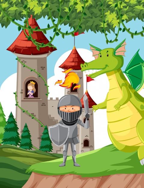 Castillo con princesa, caballero y dragón. vector gratuito