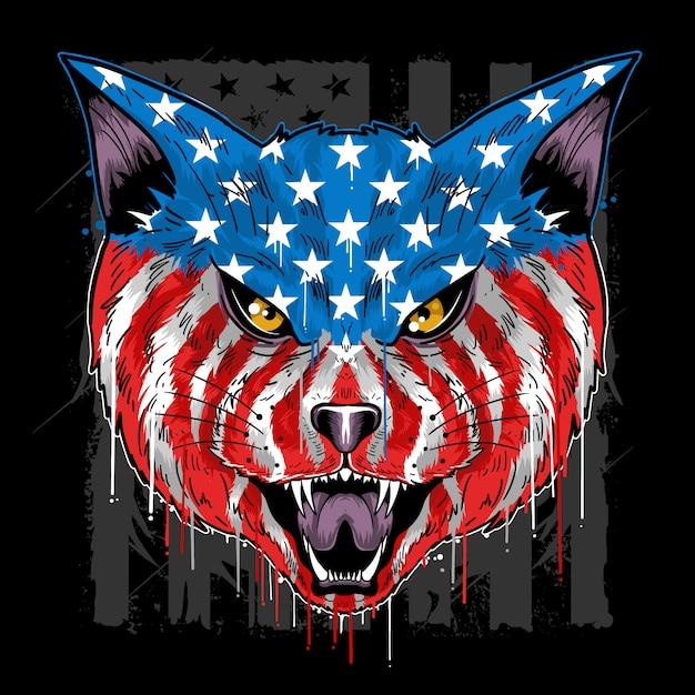 Cat beast head america bandera colector vector Vector Premium