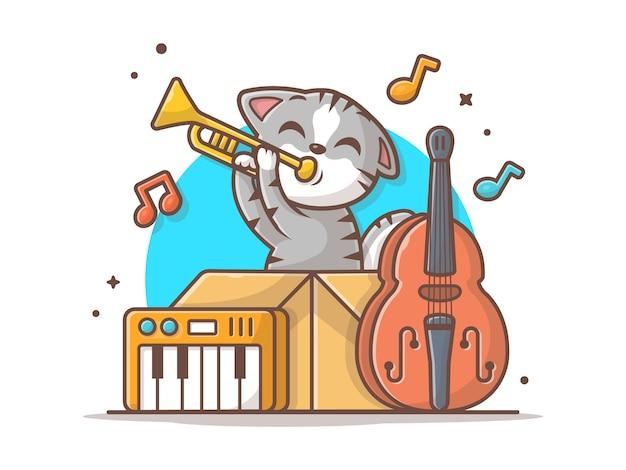 Cat playing jazz music linda en caja con la ilustración del icono del vector del saxofón, del piano y del contrabajo. concepto de icono de animales y música blanco aislado Vector Premium
