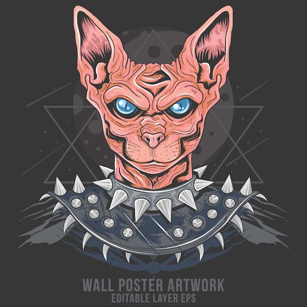 Cat punk rider egipto metal rocker Vector Premium