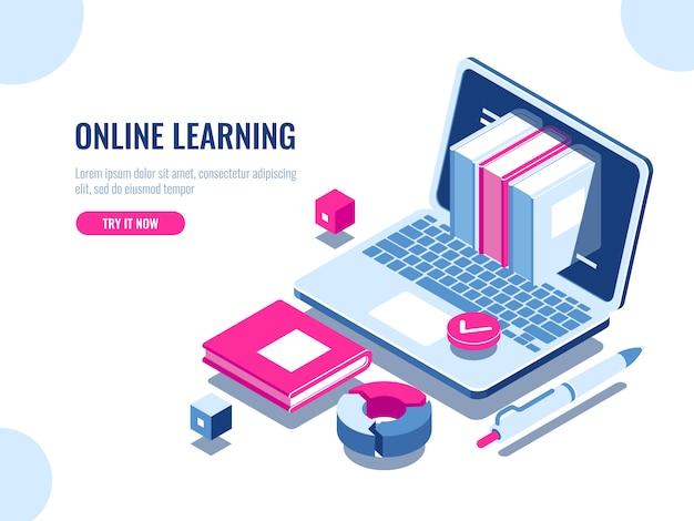 Catálogo de cursos en línea icono isométrico, educación en línea, aprendizaje de internet vector gratuito
