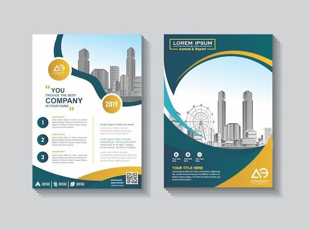 Catálogo de folleto de diseño de portada para informe anual. Vector Premium