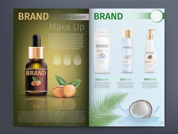 Catálogo de productos cosméticos o plantilla de folleto Vector Premium