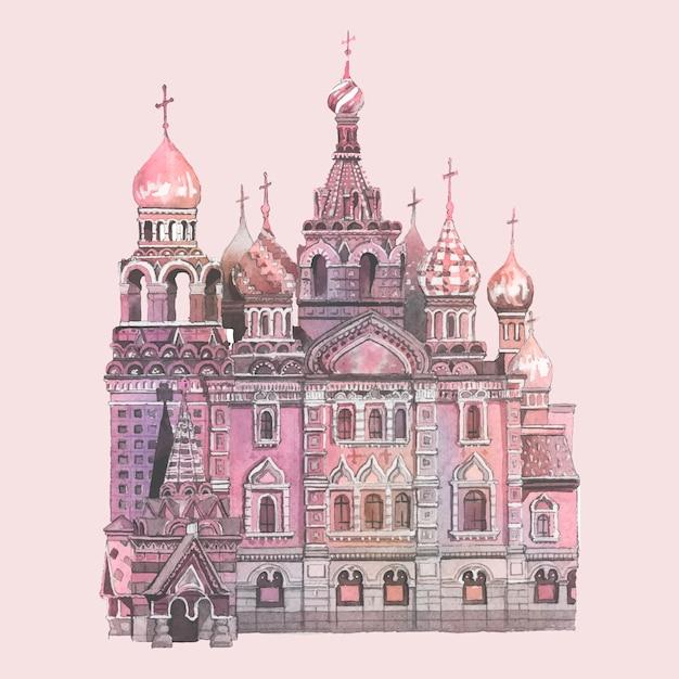 Catedral de san basilio pintada por acuarela vector gratuito