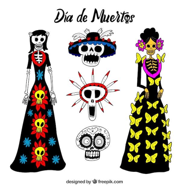 Catrina Y Calaveras Mexicanas Dibujadas A Mano Vector Gratis