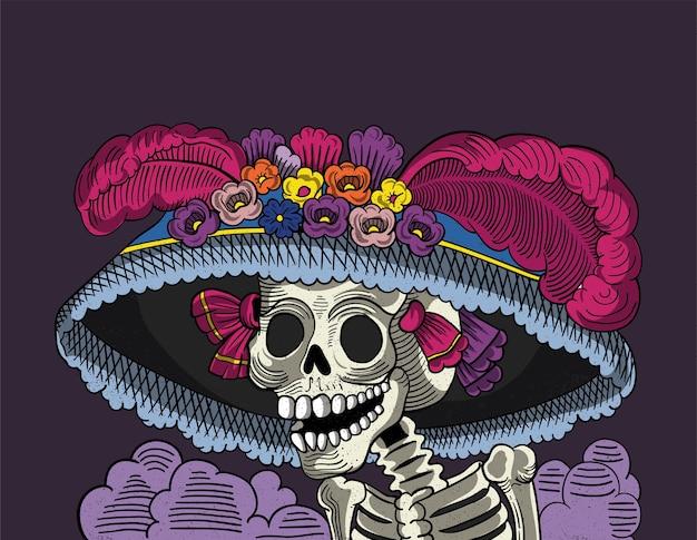 Catrina cráneo mexicano Vector Premium