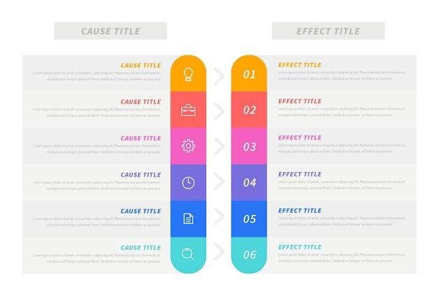 Causa y barra de efectos infograhic vector gratuito