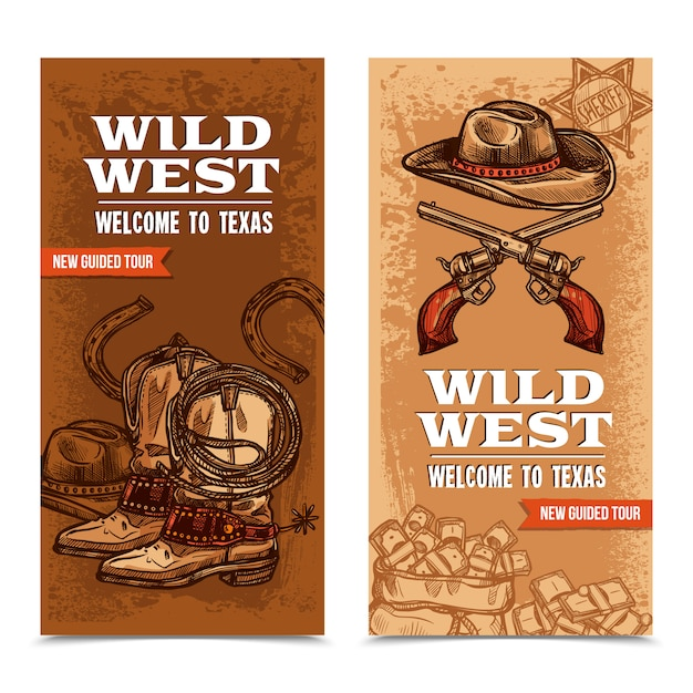 Cawboy wild west banners verticales vector gratuito