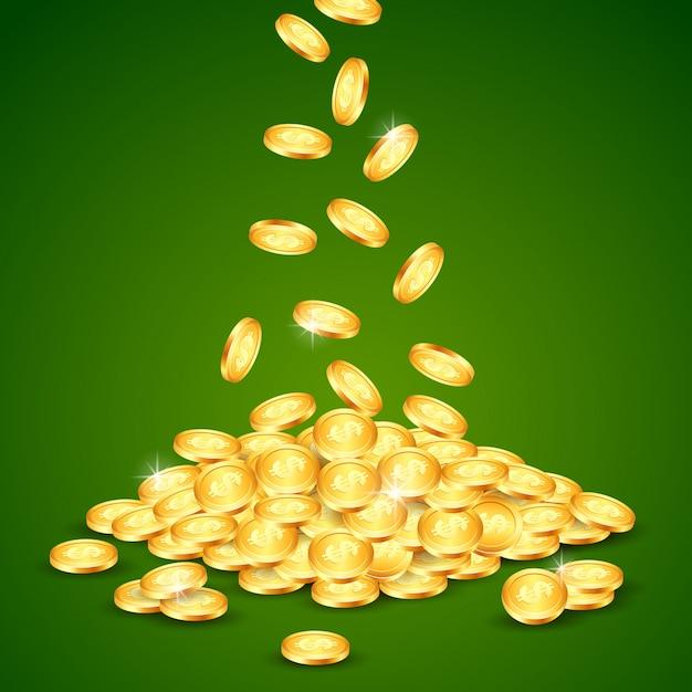 Cayendo la moneda de oro. Vector Premium