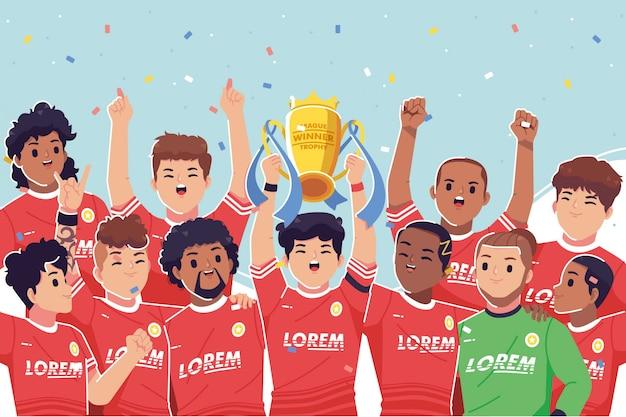 Celebración del campeonato de jugadores de fútbol Vector Premium