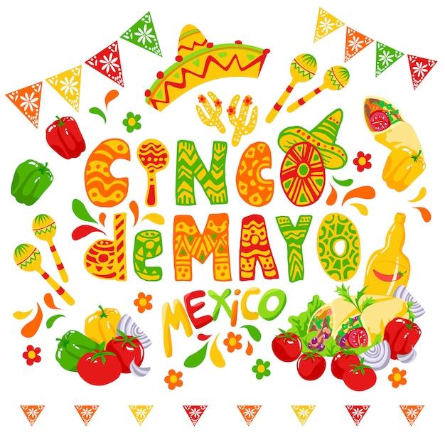 Celebración del cinco de mayo, clipart festivo. vector gratuito