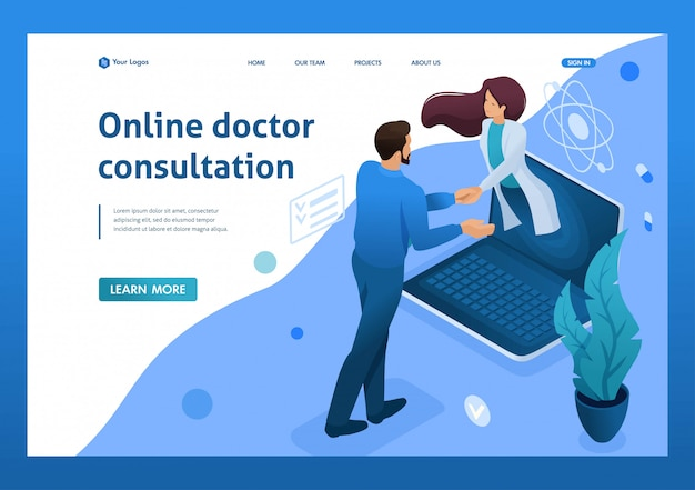 Celebración del contrato de consulta en línea del médico. concepto de salud. isométrica 3d conceptos de página de aterrizaje y diseño web Vector Premium