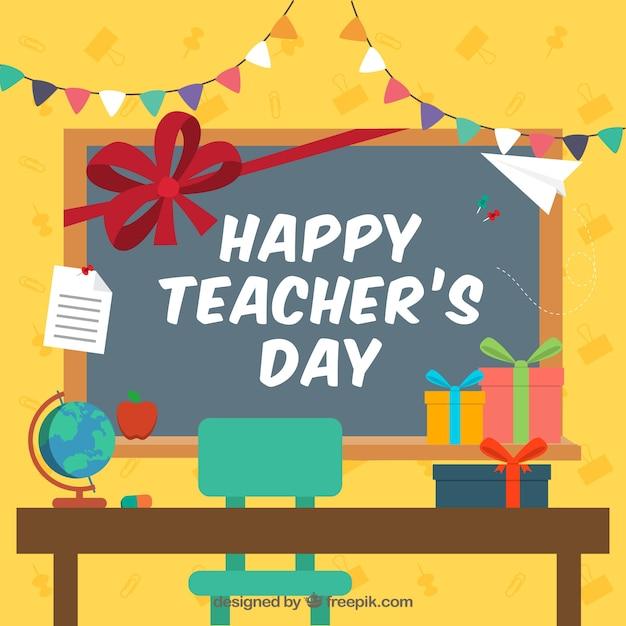 Modern Classroom Vector ~ Celebración del día de los docentes en el aula descargar
