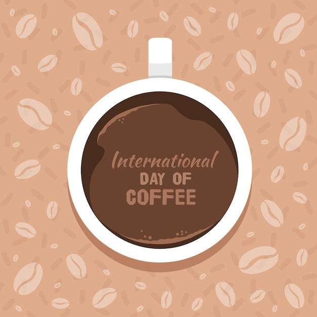 Celebración del día internacional del café vector gratuito