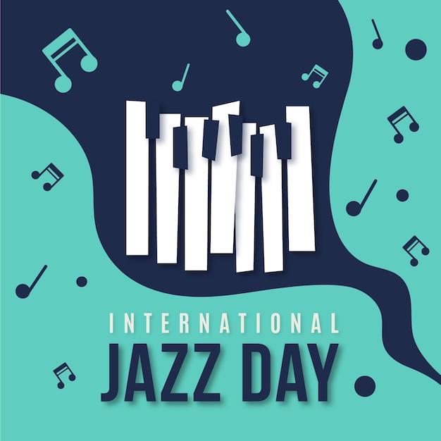 Celebración del día internacional del jazz de diseño plano Vector Premium