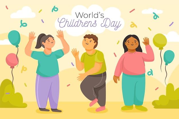 Celebración del día mundial del niño vector gratuito