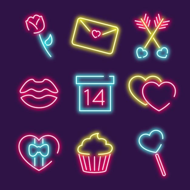Celebración del día de san valentín con iconos vector gratuito