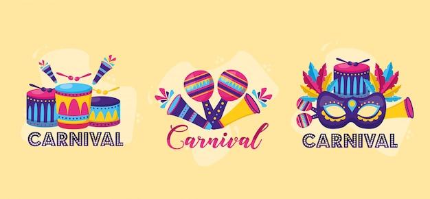 Celebración festiva de carnaval vector gratuito