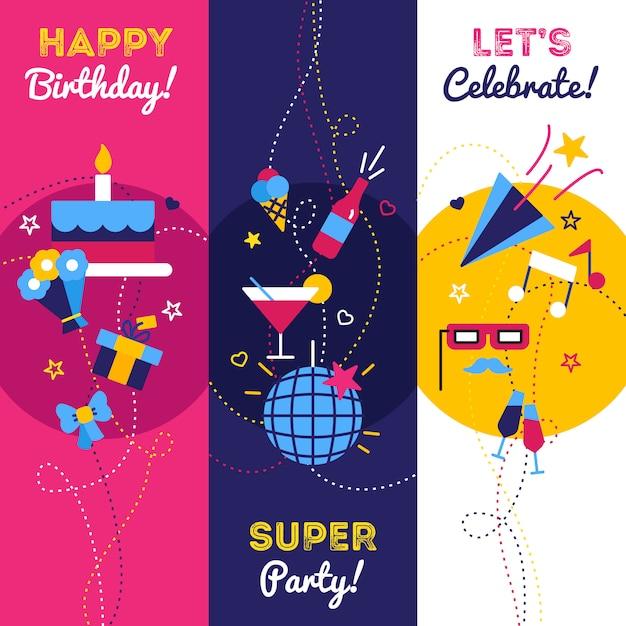 Celebración de fiesta y cumpleaños pancartas con regalos petardos botella de champán y pastel vector gratuito