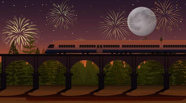 Celebración de fuegos artificiales con escena de tren. vector gratuito