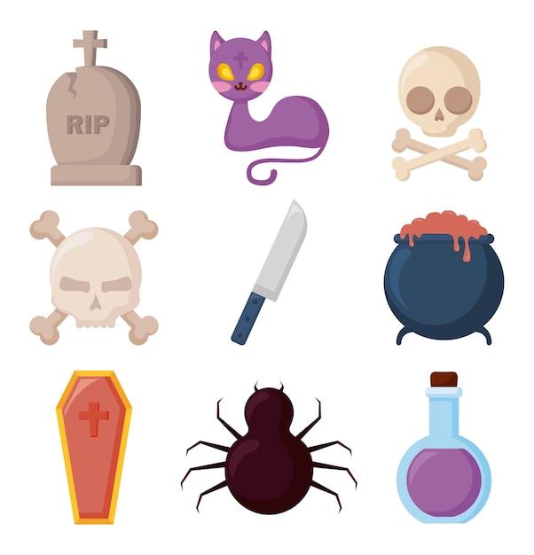 Celebración de halloween set iconos vector gratuito