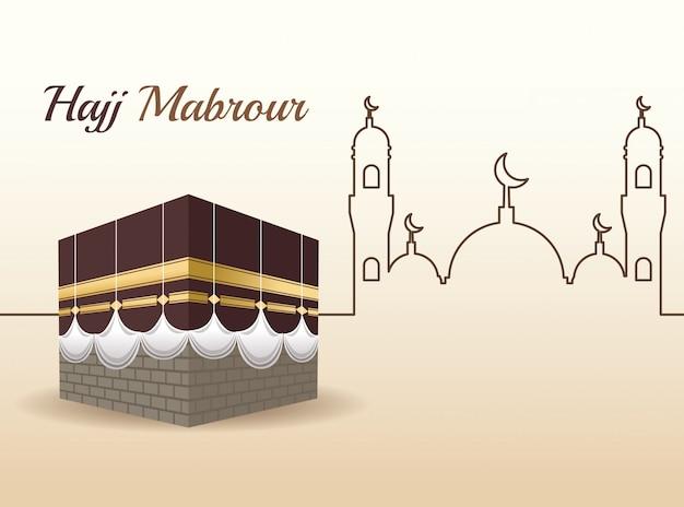 Celebración del hayy mabrur con escena de la mezquita Vector Premium