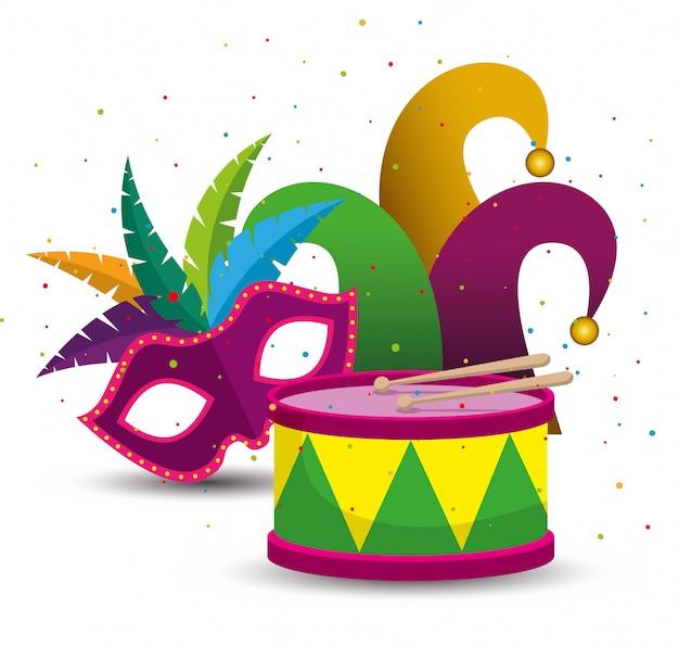 Celebración de mardi gras con máscara y gorro de fiesta vector gratuito